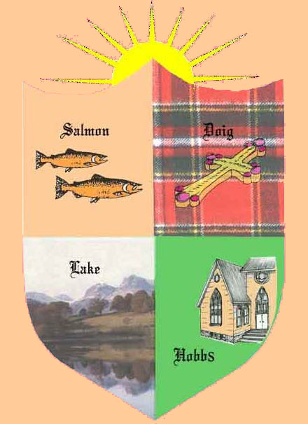 Salmon family crest in detail